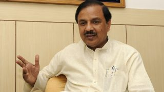NOIDA, INDIA - OCTOBER 13: Minister of State for Culture, Tourism and MoS for Ministry of Civil Aviation and Gautam Budh Nagar MP, Mahesh Sharma speaks during an interview with Hindustan Times at his office on October 13, 2015 in Noida, India. Sharma chose to remain silent on the Bisada incident. (Photo by Burhaan Kinu/Hindustan Times via Getty Images)