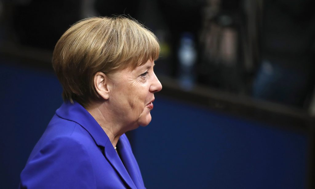 BRUSSELS, BELGIUM - JUNE 29:  German Chancellor Angela Merkel attends a second day of European Council meetings at the Council of the European Union building on June 29, 2016 in Brussels, Belgium. British Prime Minister David Cameron held talks with other EU leaders yesterday during his final scheduled meeting with the full European Council before standing down as Prime Minister. The meetings come at a time of economic and political uncertainty following the referendum result last week which saw the UK vote to leave the European Union.  (Photo by Dan Kitwood/Getty Images)