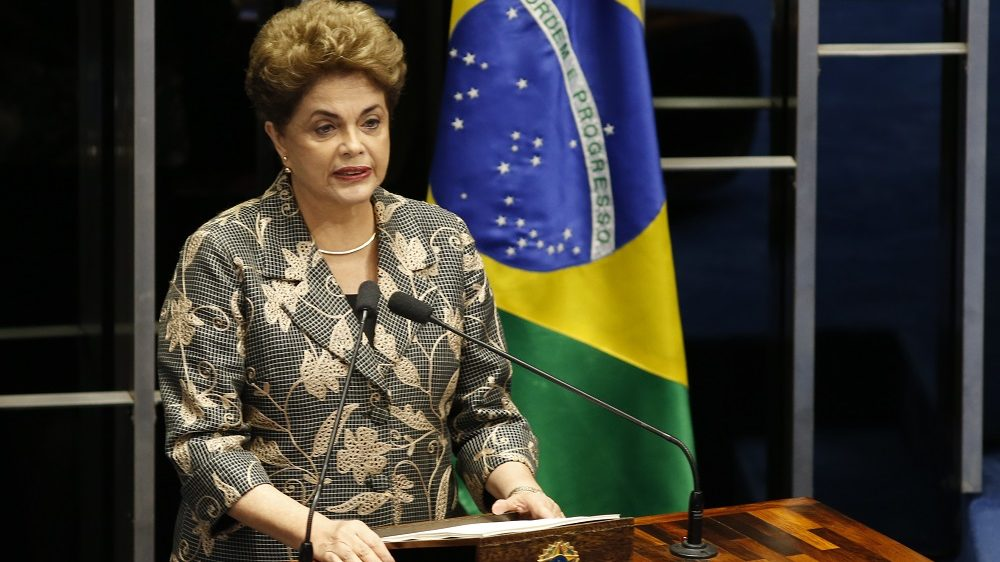 BRASILIA, BRAZIL - AUGUST 29:  Suspended Brazilian President Dilma Rousseff testifies on the Senate floor during her impeachment trial on August 29, 2016 in Brasilia, Brasil. Senators will vote in the coming days whether to impeach and permanently remove Rousseff from office.. (Photo by Igo Estrela/Getty Images)