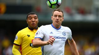 John Terry of Chelsea battles with Troy Deeney of Watford during the Premier League match between Watford and Chelsea played at Vicarage Road Stadium , Watford on 20th August 2016 - Photo Michael Zemanek / Backpage Images / DPPI