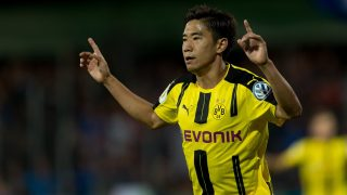 TRIER, GERMANY - AUGUST 22 :  Shinji Kagawa  of Dortmund  celebrates after scoring during the DFB-Pokal match between Eintracht Trier and Borussia Dortmund at Moselstadion in Trier, Germany on August 22, 2016. DeFodi / Anadolu Agency