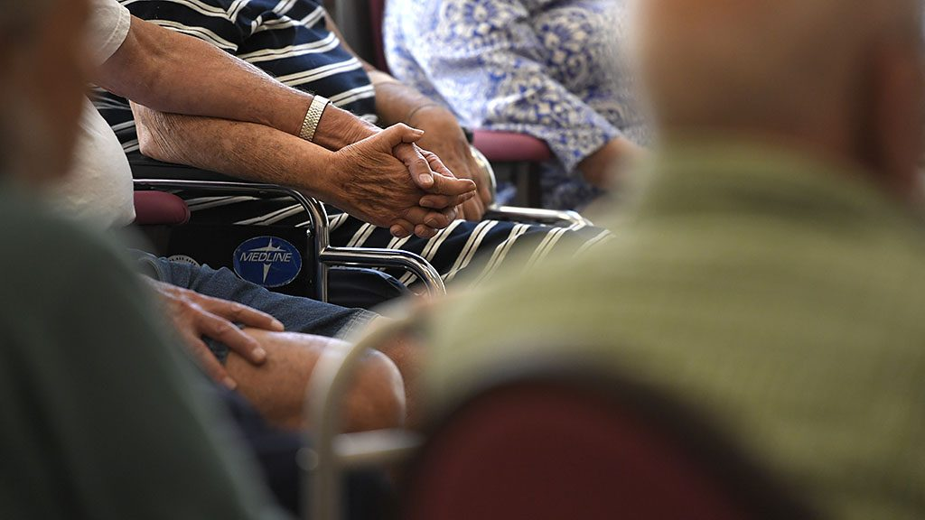DENVER, CO - AUGUST 02: Seniors hold hands during a SingFit class at Balfour at Riverfront Park in Denver. August 02, 2016 in Denver, CO. (Photo By Joe Amon/The Denver Post via Getty Images)