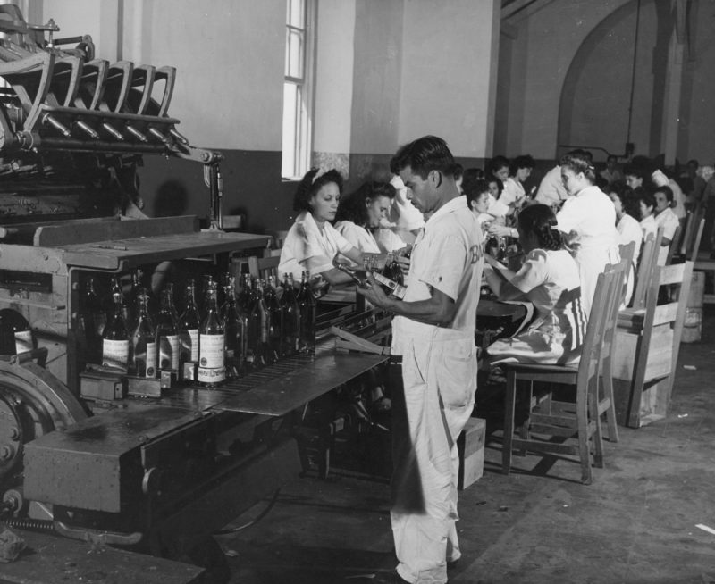 circa 1955:  Workers at the Bacardi rum bottling plant.  (Photo by Victor Kayfetz/Three Lions/Getty Images)