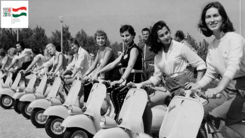 Transport, Scooters, pic: circa 1955, A line up of Vespa motor scooters with young ladies  (Photo by Popperfoto/Getty Images)