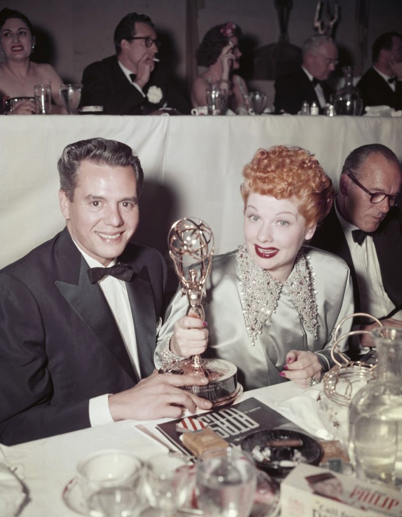 American actress Lucille Ball (1911 - 1989) and her husband Desi Arnaz (1917 - 1986) with their Academy of Television Arts & Sciences (ATAS) trophies at the Emmy Awards, USA, 5th February 1953. Ball had won Best Comedienne for her role in the series 'I Love Lucy' and the series itself had won Best Situation Comedy. (Photo by FPG/Getty Images)