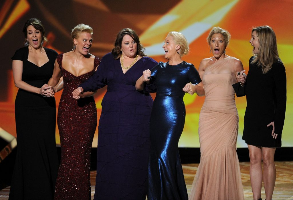 LOS ANGELES, CA - SEPTEMBER 18: (L-R) Outstanding Lead Actress in a Comedy Series nominees Tina Fey, Martha Plimpton, Melissa McCarthy, Amy Poehler, Edie Falco, and Laura Linney onstage during the 63rd Annual Primetime Emmy Awards held at Nokia Theatre L.A. LIVE on September 18, 2011 in Los Angeles, California.   Kevin Winter/Getty Images/AFP