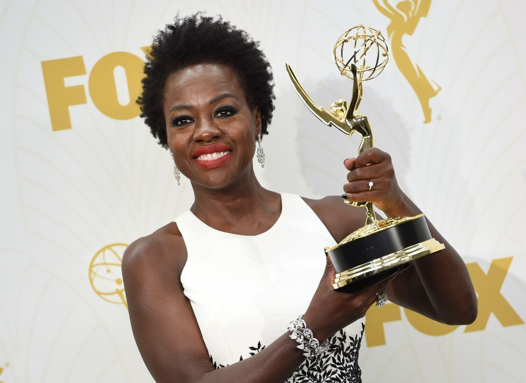 Viola Davis poses with the Emmy for Outstanding Lead Actress in a Drama Series, in the press room during the 67th Emmy Awards, September 20, 2015 at the Microsoft Theatre in downtown Los Angeles. AFP PHOTO / VALERIE MACON / AFP PHOTO / VALERIE MACON