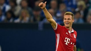 Bayern Munich's midfielder Joshua Kimmich celebrates scoring the 0-2 goal during the German first division Bundesliga football match between Schalke 04 and FC Bayern Munich in Gelsenkirchen, western Germany on September 9, 2016. / AFP PHOTO / PATRIK STOLLARZ / RESTRICTIONS: DURING MATCH TIME: DFL RULES TO LIMIT THE ONLINE USAGE TO 15 PICTURES PER MATCH AND FORBID IMAGE SEQUENCES TO SIMULATE VIDEO. == RESTRICTED TO EDITORIAL USE == FOR FURTHER QUERIES PLEASE CONTACT DFL DIRECTLY AT + 49 69 650050