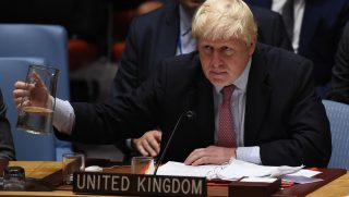 Boris Johnson, UK foreign secretary attends during a Security Council Meeeting on the situation in Syria September 21, 2016 at the UN in New York. The UN Security Council met Wednesday for crisis talks on Syria as air raids shook Aleppo and diplomatic tensions ran high over an attack on an aid convoy. / AFP PHOTO / TIMOTHY A. CLARY