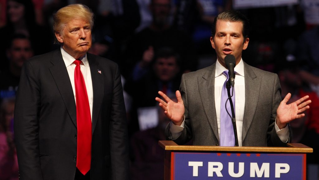 INDIANAPOLIS, IN - APRIL 27: Donald Trump Jr. (R) talks about why his dad Republican presidential candidate Donald Trump (L) as he addressing the crowd during a campaign rally at the Indiana Farmers Coliseum on April 27, 2016 in Indianapolis, Indiana. Trump is preparing for the Indiana Primary on May 3rd.   John Sommers II/Getty Images/AFP