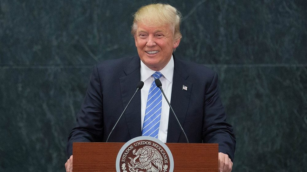 MEXICO CITY, MEXICO -  AUGUST 31 : US Republican presidential candidate, Donald Trump speaks during a press conference with President of Mexico Enrique Pena Nieto (not seen) at Los Pinos presidential residence, in Mexico City, Mexico on August 31, 2016. Daniel Cardenas / Anadolu Agency