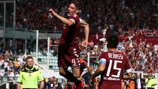 Torino forward Andrea Belotti (9) celebrates after scoring his goal during the Serie A football match n.6 TORINO - ROMA on 25/09/2016 at the Stadio Olimpico Grande Torino in Turin, Italy. Copyright 2016  Matteo Bottanelli