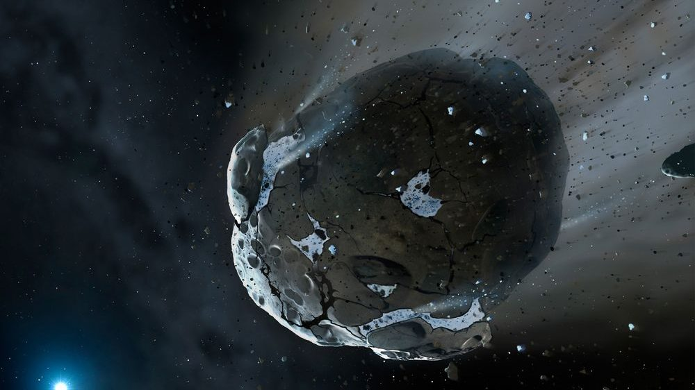 This is an artist's impression of a rocky and water-rich asteroid being torn apart by the strong gravity of the white dwarf star GD 61. Similar objects in our solar system likely delivered the bulk of water on Earth and represent the building blocks of the terrestrial planets. NASA, ESA, M.A. Garlick (space-art.co.uk), University of Warwick, and University of Cambridge. http://en.wikipedia.org/wiki/File:Artist%27s_view_of_watery_asteroid_in_white_dwarf_star_system_GD_61.jpg