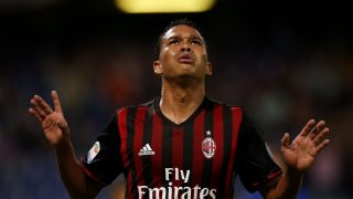 AC Milan's Colombian forward Carlos Bacca celebrates after scoring during the Italian Serie A football match between Sampdoria and AC Milan on September 16, 2016 at 'Luigi Ferraris Stadium' in Genoa.  / AFP PHOTO / MARCO BERTORELLO