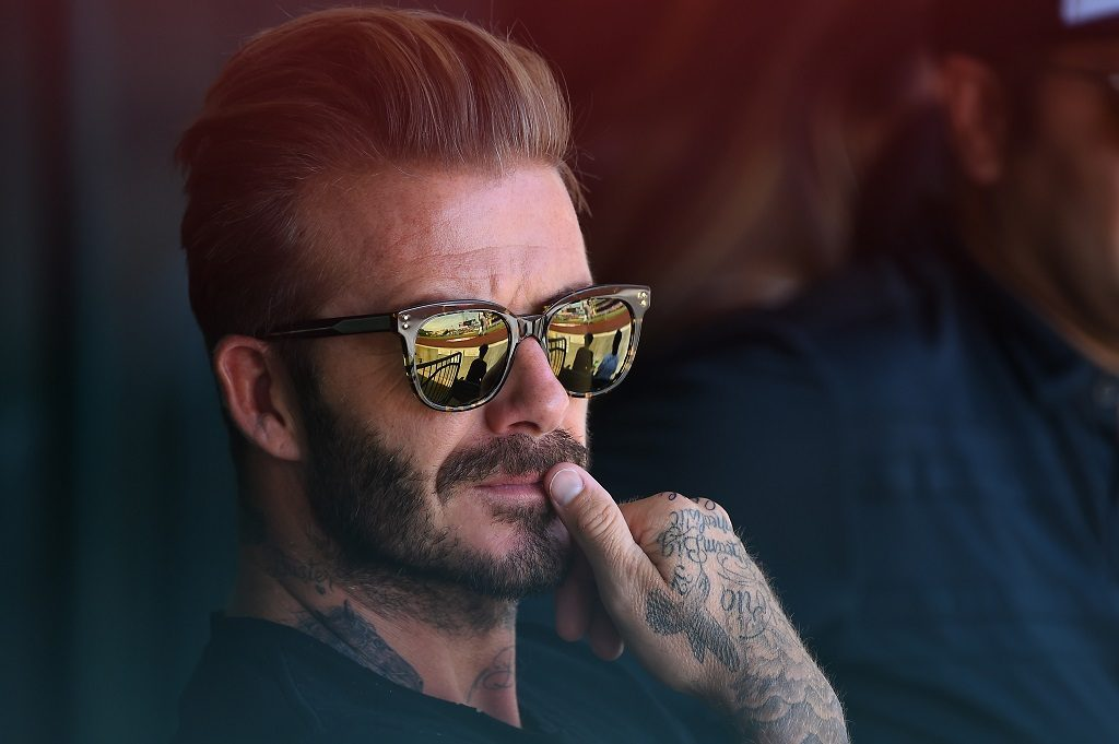 ANAHEIM, CA - AUGUST 21: David Beckham attends the game between the Los Angeles Angels and the New York Yankees at Angel Stadium of Anaheim on August 21, 2016 in Anaheim, California.   Jayne Kamin-Oncea/Getty Images/AFP / AFP PHOTO / GETTY IMAGES NORTH AMERICA / Jayne Kamin-Oncea