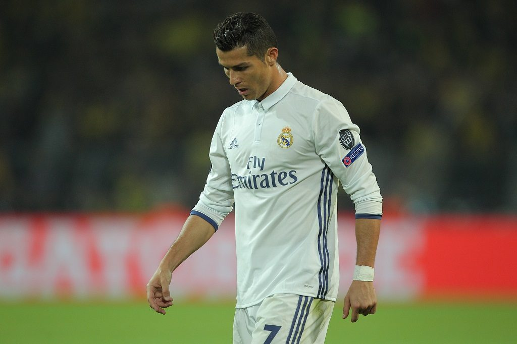 Cristiano Ronaldo of Real Madrid looks dejected during the UEFA Champions League match between Borussia Dortmund and Real Madrid played at Signal Iduna Park ,Dortmund on 27th September 2016 - Photo Michael Zemanek / BPI / DPPI
