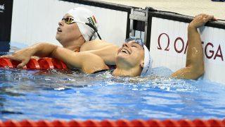 Rio de Janeiro, 2016. szeptember 11. A negyedik helyezett Kézdi Réka (b) és a bronzérmes olasz Giulia Ghiretti az 50 méteres pillangóúszás S5-ös sérültségi kategóriájának döntõjében a riói paralimpián a Rio de Janeiró-i Olimpiai Uszodában 2016. szeptember 10-én. MTI Fotó: Koszticsák Szilárd