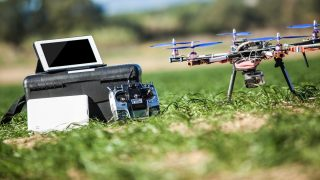 Professional equipment for drive a drone with tablet, monitor, tv, remote control.