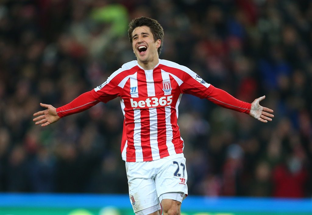 Bojan Krkic of Stoke City celebrates after scoring a goal but it is disallowed (Photo by AMA/Corbis via Getty Images)
