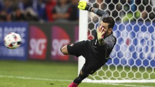 MARSEILLE, FRANCE - JUNE 30:  Rui Patricio goalkeeper of Portugal makes a save after a penalty shootout during a quarter final match between Poland and Portugal as part of UEFA Euro 2016 at Stade Velodrome on June 30, 2016 in Marseille, France. (Photo by Bruno Fonseca/Brazil Photo Press/LatinContent/Getty Images)