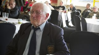 Former England international player Jackie Sewell enjoying a quiet pint at an autograph signing session at Meadow Lane, home of Notts County FC on the day of a special Legends Day event marking the club's 150th anniversary. The day-long event featured autograph signing by past and present players, a game between two teams of former players and a screening of a film entitled 'Notts County - the Movie' on a giant inflatable screen. The club were founder members of the Football League in England an (Photo by Colin McPherson/Corbis via Getty Images)
