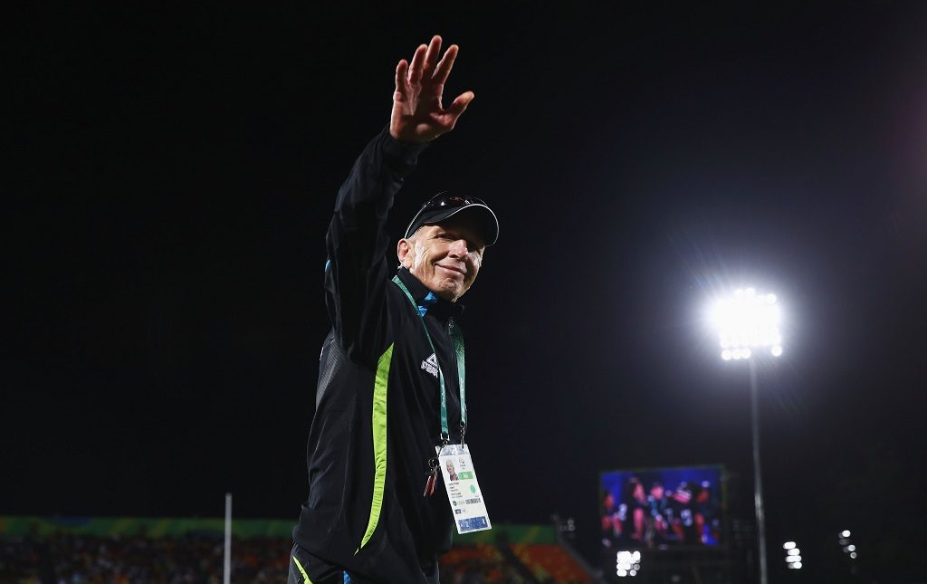RIO DE JANEIRO, BRAZIL - AUGUST 11:  Gordon Tietjens, coach of New Zealand looks on after the Men's Rugby Sevens placing 5-6 match between New Zealand and Argentina on Day 6 of the Rio 2016 Olympics at Deodoro Stadium on August 11, 2016 in Rio de Janeiro, Brazil.  (Photo by Mark Kolbe/Getty Images)