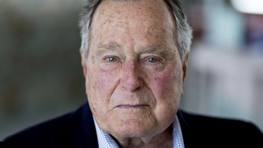 """KENNEBUNKPORT - - JUNE 17: Former President and Director of Central Intelligence under President Gerald R. Ford, George H.W. Bush at his home in Kennebunkport, Maine, June 17, 2015 photographed for CBS/Showtime's, """"The Spymasters,"""" a documentary about CIA directors. (Photo David Hume Kennerly/GettyImages)"""