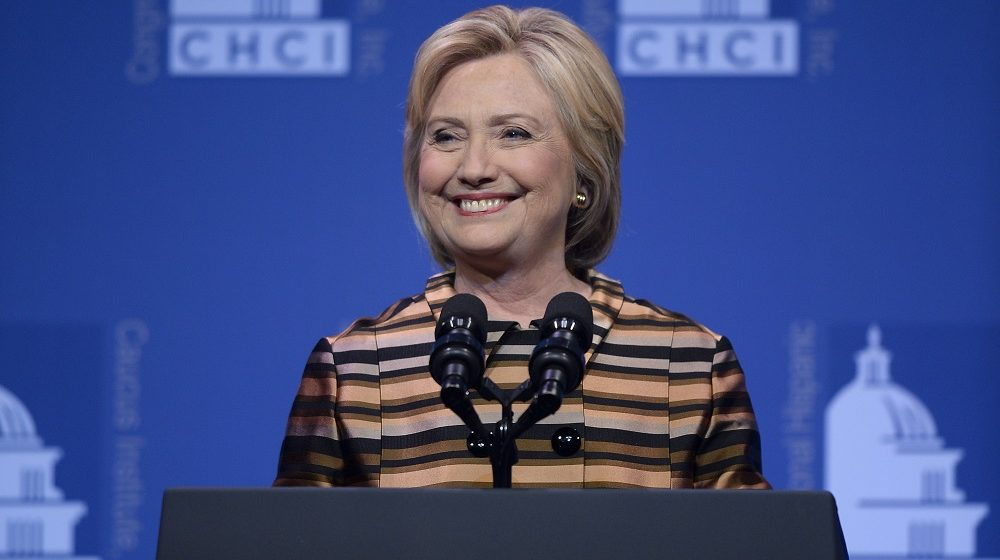 WASHINGTON, DC - SEPTEMBER 15:  Presidential nominee Hillary Clinton delivers remarks during the The Congressional Hispanic Caucus Awards Gala commemoriating Hispanic Heritage Month at the Washington Convention Center on September 15, 2016 in Washington, DC.  (Photo by Riccardo S. Savi/WireImage)