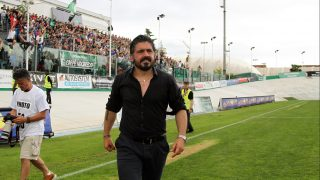 ITALY, PORDENONE - MAY 29: Pisa's Head Coach Gennaro Gattuso acknowledges supporters at the end of the Lega Pro Playoff Semifinal football match between Pordenone Calcio v AC Pisa 1909 at Ottavio Bottecchia Stadium on May 29, 2016 in Pordenone, Italy. (Photo by Andrea Spinelli/Corbis via Getty Images)