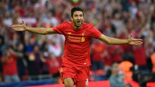 LONDON, ENGLAND - AUGUST 06:  (THE SUN OUT, THE SUN ON SUNDAY OUT) Marko Grujic of Liverpool celebrates after scoring the fourth goal during the International Champions Cup match between Liverpool and Barcelona at Wembley Stadium on August 6, 2016 in London, England.  (Photo by John Powell/Liverpool FC via Getty Images)