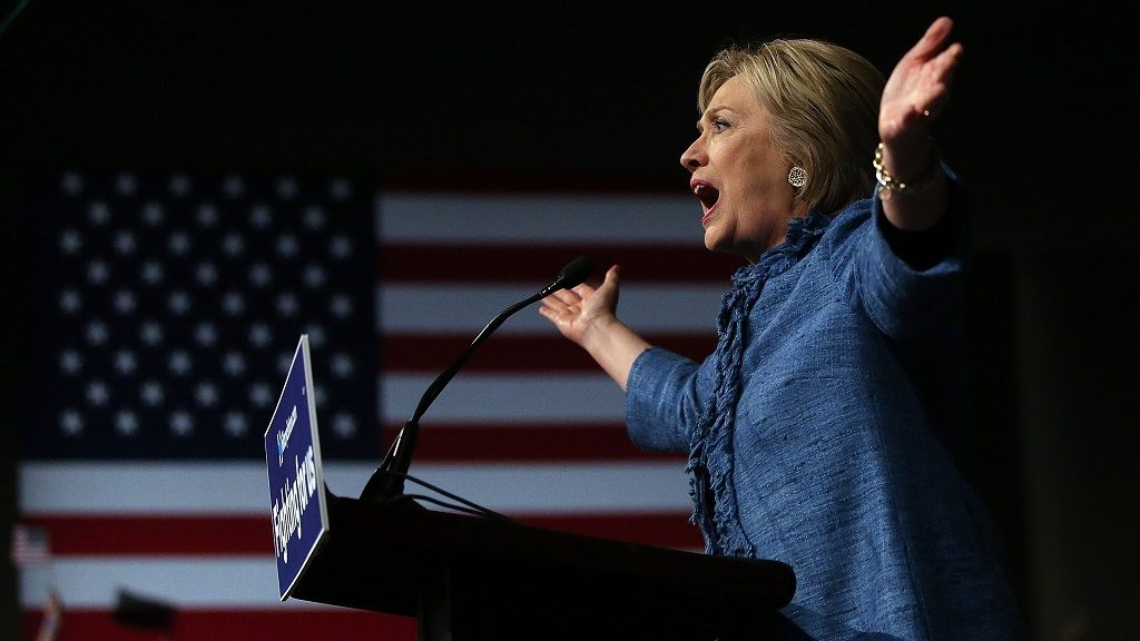 WEST PALM BEACH, FL - MARCH 15:  Democratic presidential candidate former Secretary of State Hillary Clinton speaks during her primary night gathering on March 15, 2016 in West Palm Beach, Florida. Hillary Clinton defeated rival U.S. Sen. Bernie Sanders in the Florida, Ohio and North Carolina primaries.  (Photo by Justin Sullivan/Getty Images)
