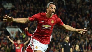 Manchester United's Swedish striker Zlatan Ibrahimovic (C) celebrates scoring his team's first goal during the UEFA Europa League group A football match between Manchester United and Zorya Luhansk at Old Trafford stadium in Manchester, north-west England, on September 29, 2016. / AFP PHOTO / PAUL ELLIS
