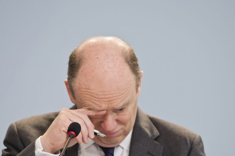 FRANKFURT AM MAIN, GERMANY - JANUARY 28: CEO John Cryan attends Deutsche Bank annual press conference  on January 28, 2016 in Frankfurt am Main, Germany. It was announce that the Deutsche Bank's management board would not receive bonuses for 2015 after it reported a full-year net loss of 6.8 billion euros and fourth-quarter net loss of 2.1 billion euros, which were attributed to write-downs, litigation charges and restructuring costs. (Photo by Michael Gottschalk/Photothek via Getty Images)