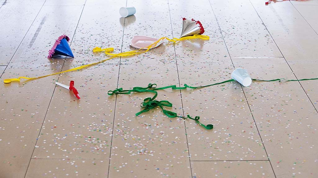 Party supplies on floor
