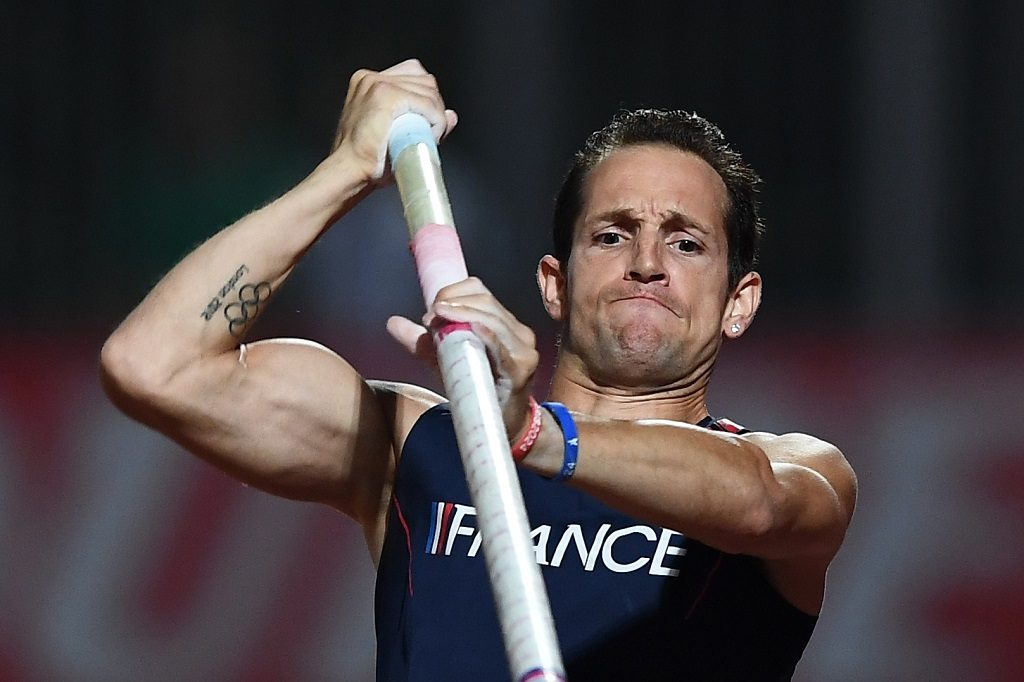 French Renaud Lavillenie competes in the Pole Vault at the DecaNation track and field meet at the Stade Delort in Marseille, southern France on September 13, 2016.    / AFP PHOTO / BORIS HORVAT