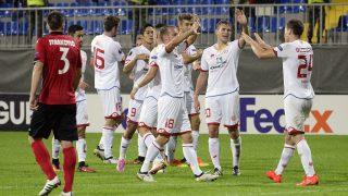 Mainz 05's players celebrate scoring a goal during the Europa League Group C football match between Qabala SC and Mainz 05 in Baku on September 29, 2016. / AFP PHOTO / TOFIK BABAYEV