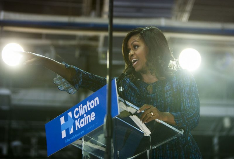PHILADELPHIA, PA - SEPTEMBER 28: U.S. first lady Michelle Obama campaigns for democratic presidential nominee Hillary Clinton at Lasalle University on September 28, 2016 in Philadelphia, Pennsylvania. Michelle Obama speaks about what is at stake in November and urges Pennsylvanians to vote.  (Photo by Jessica Kourkounis/Getty Images)