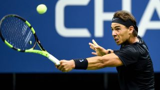 (160903) -- NEW YORK, Sept. 3, 2016 (Xinhua) -- Rafael Nadal of Spain hits a return to Andrey Kuznetsov of Russia during a men's singles third round match at the 2016 U.S. Open tennis tournament in New York, the United States, Sept. 2, 2016. Nadal won 3-0. (Xinhua/Bao Dandan)