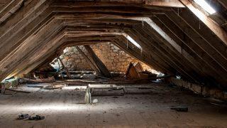 a retro dilapidated attic