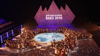 BAKU, AZERBAIJAN - SEPTEMBER 01:  Dancers perform during the opening ceremony of the 42nd World Chess Olympiad at the National Gymnastics Arena in Baku, Azerbaijan on September 01, 2016. Presidency of Azerbaijan / Anadolu Agency