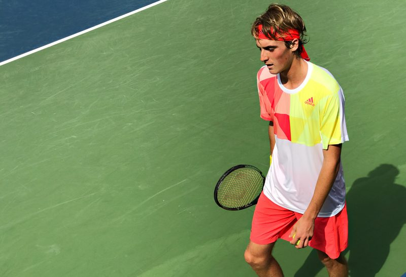 NEW YORK, NY - SEPTEMBER 09:  Top-ranked junior player in the world, Stefanos Tsitsipas of Greece plays against Kenneth Raisma (EST).  Tsitsipas would go on to lose in the semifinals.  Day Twelve of the 2016 US Open at the USTA Billie Jean King National Tennis Center on September 8, 2016 in Queens.  (Landon Nordeman for ESPN)