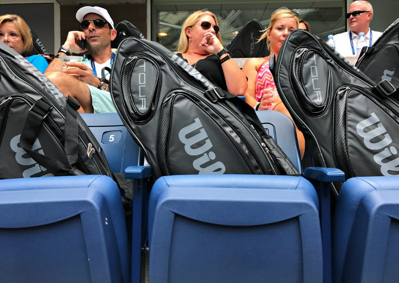 NEW YORK, NY - SEPTEMBER 09:  In the Wilson box at Arthur Ashe, tennis racquets are provided to guests Day Twelve of the 2016 US Open at the USTA Billie Jean King National Tennis Center on September 8, 2016 in Queens.  (Landon Nordeman for ESPN)