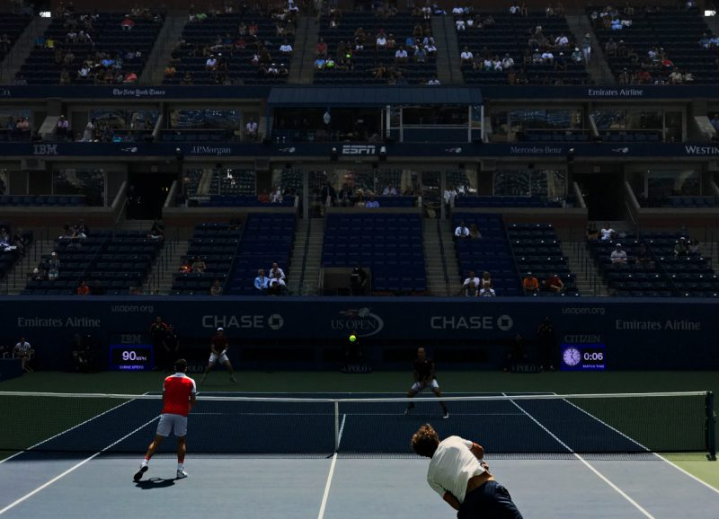 NEW YORK, NY - SEPTEMBER 10:  Jamie Murray and Bruno Soares (in Red) compete in the Men's Doubles Final on Day Thirteen of the 2016 US Open at the USTA Billie Jean King National Tennis Center on September 10, 2016 in Queens.  The pair defeated Pablo Carreno Busta and Guillermo Garcia-Lopez. (Landon Nordeman for ESPN)