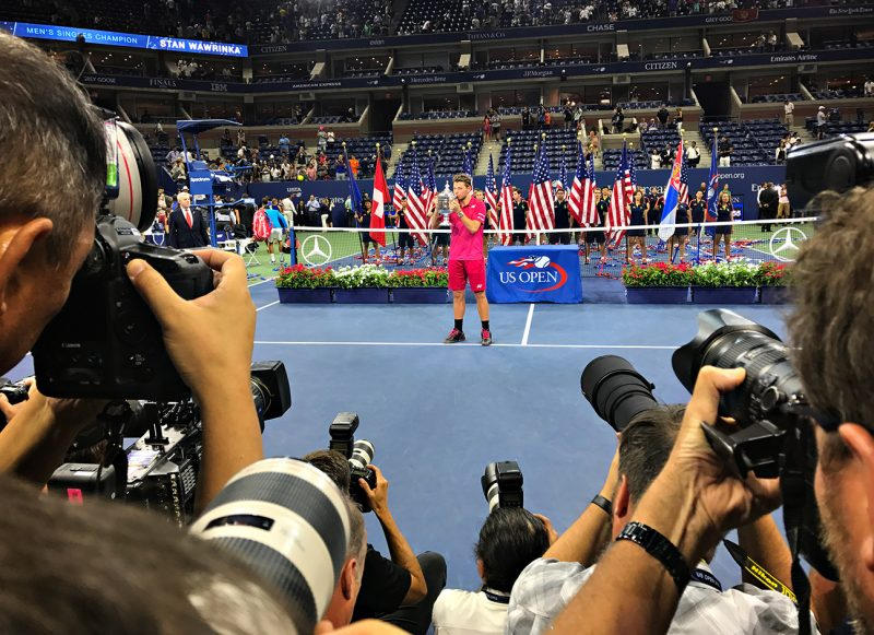 NEW YORK, NY - SEPTEMBER 11:  Men's US Open Champion Stan Wawrinka holds the trophy over Day 14 of the 2016 US Open at the USTA Billie Jean King National Tennis Center on September 11, 2016 in Queens.  (Landon Nordeman for ESPN)