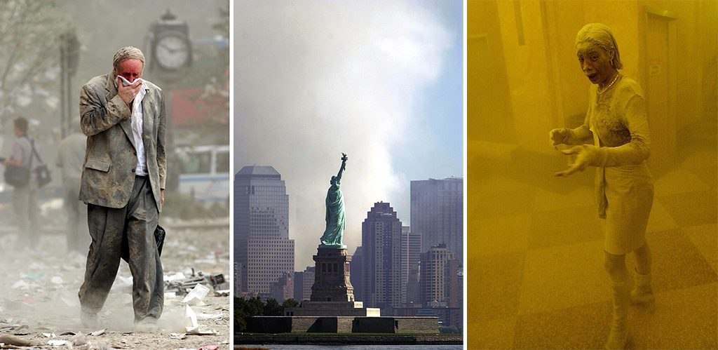 (FILES) This file photo taken on September 11, 2001 shows Edward Fine covering his mouth as he walks through the debris after the collapse of one of the World Trade Center Towers in New York. The Twin Towers of the World Trade Center which were struck by hijacked airplanes collapsed on that day, claiming 2,753 lives. September 11, 2016 marks the fifteenth anniversary of the event. / AFP PHOTO / STAN HONDA