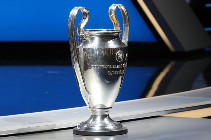 The Champions League trophy is pictured at the start of the UEFA Champions League Group stage draw ceremony, on August 25, 2016 in Monaco.  AFP PHOTO / VALERY HACHE / AFP PHOTO / VALERY HACHE