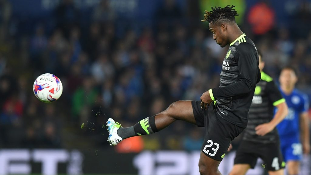 Chelsea's Belgian striker Michy Batshuayi controls the ball during the English League Cup third round football match between Leicester City and Chelsea at King Power Stadium in Leicester, central England on September 20, 2016. / AFP PHOTO / Anthony DEVLIN / RESTRICTED TO EDITORIAL USE. No use with unauthorized audio, video, data, fixture lists, club/league logos or 'live' services. Online in-match use limited to 75 images, no video emulation. No use in betting, games or single club/league/player publications.  /