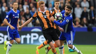 Hull City's English midfielder Sam Clucas (2nd L) vies with Chelsea's Brazilian-born Spanish striker Diego Costa during the English Premier League football match between Hull City and Chelsea at the KCOM Stadium in Kingston upon Hull, north east England on October 1, 2016. / AFP PHOTO / Lindsey PARNABY / RESTRICTED TO EDITORIAL USE. No use with unauthorized audio, video, data, fixture lists, club/league logos or 'live' services. Online in-match use limited to 75 images, no video emulation. No use in betting, games or single club/league/player publications.  /