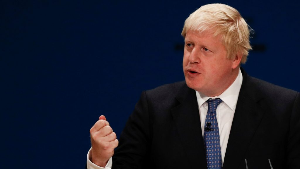 British Foreign Secretary Boris Johnson delivers a speech on the first day of the Conservative party annual conference at the International Convention Centre in Birmingham, central England, on October 2, 2016.  Britain's governing Conservative Party meets for its annual conference from Sunday facing questions over how and when it will take the country out of the European Union following the Brexit vote. / AFP PHOTO / Adrian DENNIS