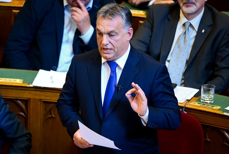 Hungarian Prime Minister Viktor Orban gives a speech at the parliament in Budapest on October 3, 2016.Orban suffered a blow on October 2, 2016 in his revolt against the European Union after low voter turnout voided his referendum aimed at rejecting a contested migrant quota plan. / AFP PHOTO / ATTILA KISBENEDEK
